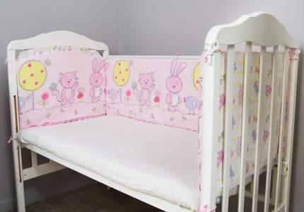 Борт в кроватку Сонный Гномик Акварель розовый