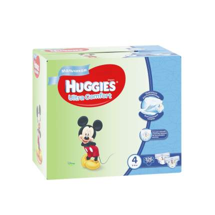 Подгузники Huggies Ultra Comfort для мальчиков 4 (8-14 кг), Disney Box, 126 шт.
