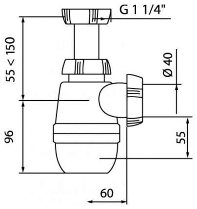 Сифон МИНОР 1 ¼ х 40 мм без выпуска