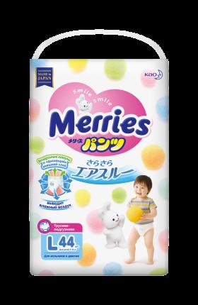 Подгузники-трусики Merries L (9-14 кг), 44 шт.