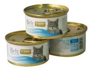 Консервы для кошек Brit Care, рыба, индейка, 80г