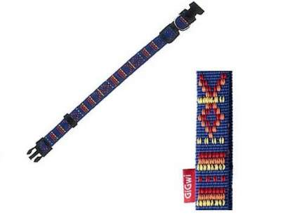 Ошейник для собак GiGwi L, 20 мм х 40-55 см, синий с узорами (75155)