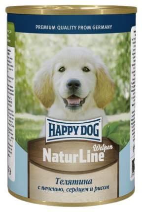 Консервы для щенков Happy Dog NaturLine, телятина, сердце, печень, рис, 400г