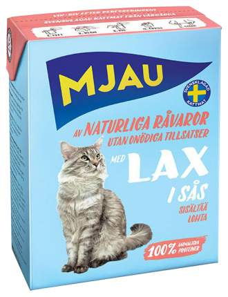 Влажный корм для кошек Mjau Chunks in Sauce, мясные кусочки в соусе с лососем, 370г