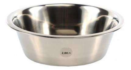 Одинарная миска для собак Аква Энимал, сталь, серебристый, 2.5 л