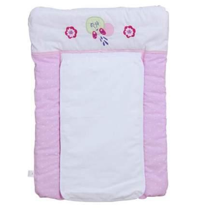 Доска пеленальная Polini Kids Joy Весенняя мелодия мягкая с вышивкой 70х50 см, Розовый