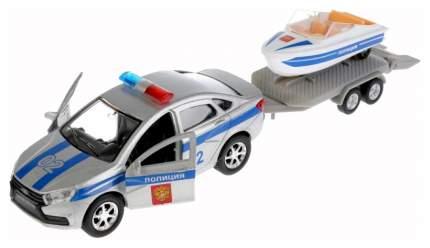 Машина спецслужбы Технопарк Полицейская машина LADA Vesta + Лодка 12 см белый