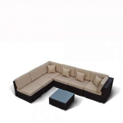 Плетеный модульный диван YR822 Brown