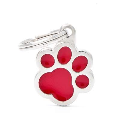 Адресник для кошек и собак My Family Colors Лапка, средний, цвет: красный