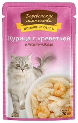 Влажный корм для кошек Деревенские лакомства, с курицей и креветкой в желе, 12шт по 70г