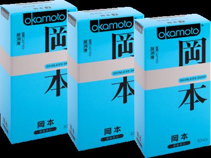 Презервативы Okamoto Skinless Skin Super Lubricative спайка 3 упаковки по 10 шт.