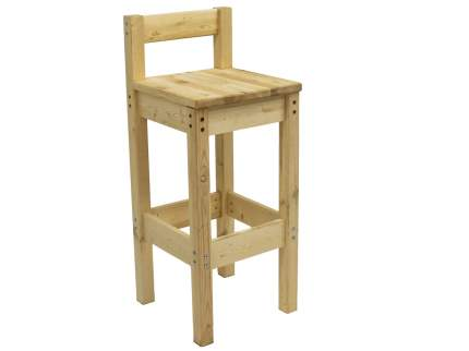 Деревянный барный стул со спинкой Green Mebel Барный стул с низкой спинкой Натуральный