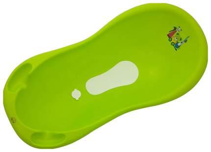 Ванна Maltex Мишка и друзья 100см с пробкой и нескользящим ковриком зеленый