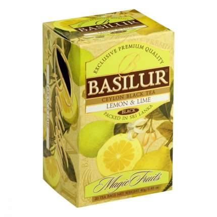 Чай Basilur Волшебные фрукты - Лимон и лайм черный с добавками 20 пакетиков