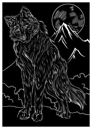 Гравюра Рыжий кот А5 с эффектом серебра Волк и луна