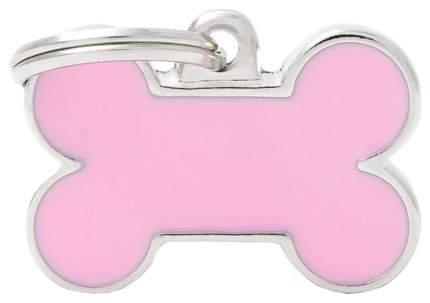 Медальон на ошейник My Family Basic Handmade в форме косточки розовый