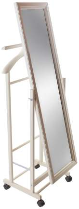 Вешалка напольная Мебелик с зеркалом на колесах В 24Н Cлоновая кость
