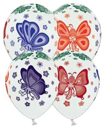 """Воздушный шар BelBal 14"""" Бабочки многоцветная шелкография 25 шт."""