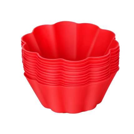 Tobox Силиконовые формочки для выпечки кексов и маффинов 12 штук красные 7,5*3см