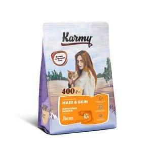 Сухой корм для кошек Karmy Hair & skin, для кожи и шерсти, лосось, 0,4кг