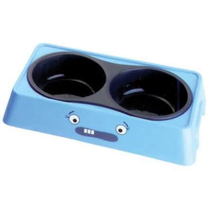 Двойная миска для кошек и собак UP!, пластик, голубой, 0.2 л