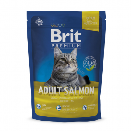 Сухой корм для кошек Brit Premium Adult Salmon, лосось, 0,8кг