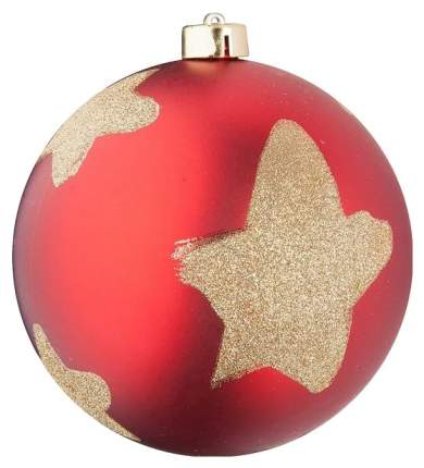 Новогодний шар Snowmen 15 см Е96384 Красный со звездами