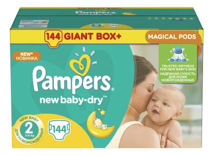 Подгузники для новорожденных Pampers New Baby-Dry 2 (3-6 кг), 144 шт.