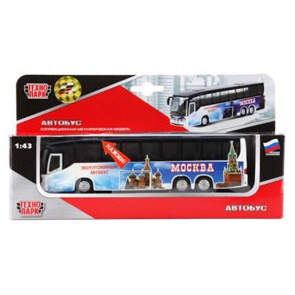 Автобус Технопарк 1:43 инерционный, металлический со светом и звуком 16 см
