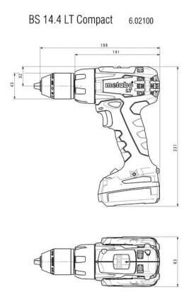 Аккумуляторная дрель-шуруповерт Metabo BS 14.4 LT Compact 602100510