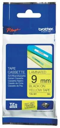 Лента для печати наклеек Brother TZe-621 Black on yellow 9 мм