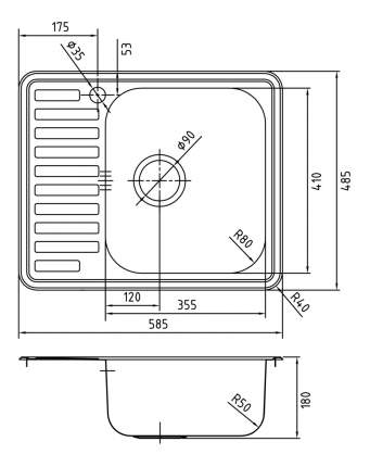 Мойка для кухни из нержавеющей стали IDDIS Strit STR58SRi77 сталь