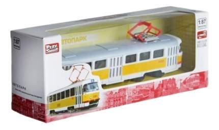 Трамвай инерционный Tatra T3SU с желтой полосойАвтопарк Play Smart А74102 1:87