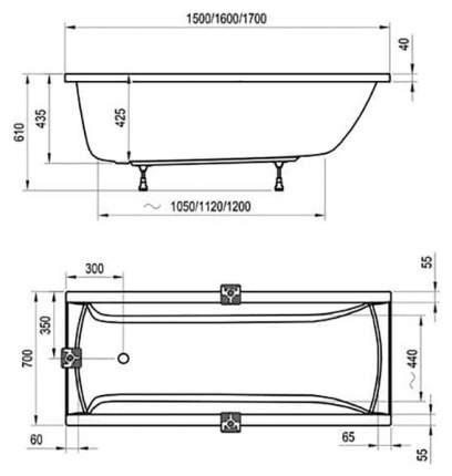 Акриловая ванна Ravak Classic 150х70 без гидромассажа