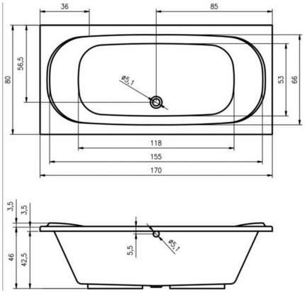 Акриловая ванна Riho Taurus 170х80 без гидромассажа