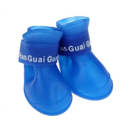 Ботинки для собак Грызлик Ам, силиконовые, синие, M, 5 см на 4 см