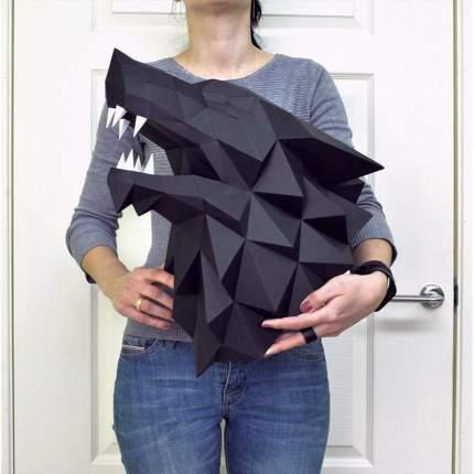 3D-конструктор Paperraz Трофейная голова Лютоволк черный