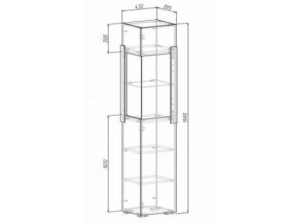 Платяной шкаф МФ Мелания MEL_2017 199,5х48,8х39,5, бетон чикаго/дуб вотан
