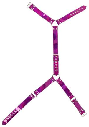 Неоново-розовая сбруя на шею и талию Bad Kitty Body Harness