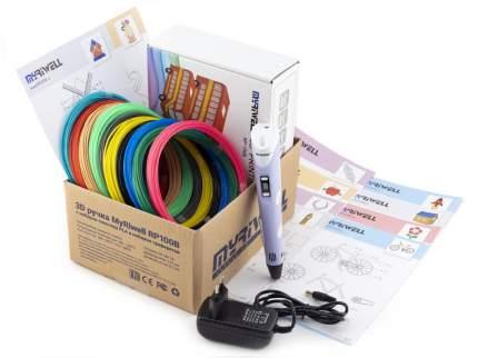3D-ручка Myriwell RP100B фиолетовая с трафаретами для 3D-ручек и пластиком PLA 10х10 м