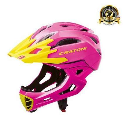 Велосипедный шлем Cratoni C-Maniac, pink/yellow glossy, M/L