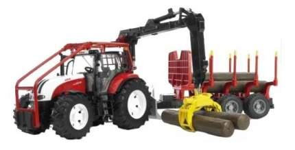 Трактор Bruder Steyr CVT 6230 лесной с манипулятором и прицепом с брёвнами