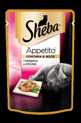 Влажный корм для кошек Sheba Appetito с говядиной и кроликом, 24 шт по 85г