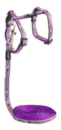 Комплект поводок и шлейка для кошек Rogz NightCat XS-8мм 1,8 м (Фиолетовый CLJ208E)