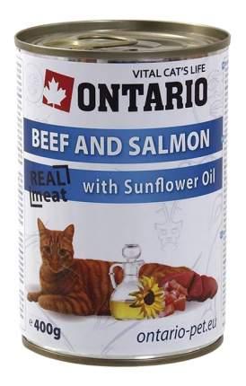 Консервы для кошек Ontario, с говядиной и лососем, 400г
