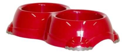 Двойная миска для кошек и собак MODERNA, пластик, красный, 2 шт по 0.645 л