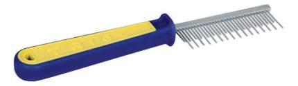 Расческа для кошек и собак Triol Спорт комбинированная, 3х20 см, металл, желтый, синий