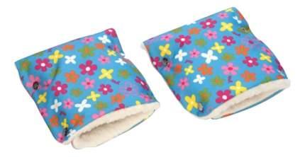 Муфта для рук мамы на детскую коляску Чудо-Чадо Меховые цветочки