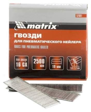 Гвозди MATRIX 16 GA для пневматического нейлера сечение 1,6х1,4, длина 19 мм, 2500 шт