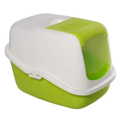 Туалет для кошек Savic Nestor, прямоугольный, зеленый, белый, 56х39х38,5 см